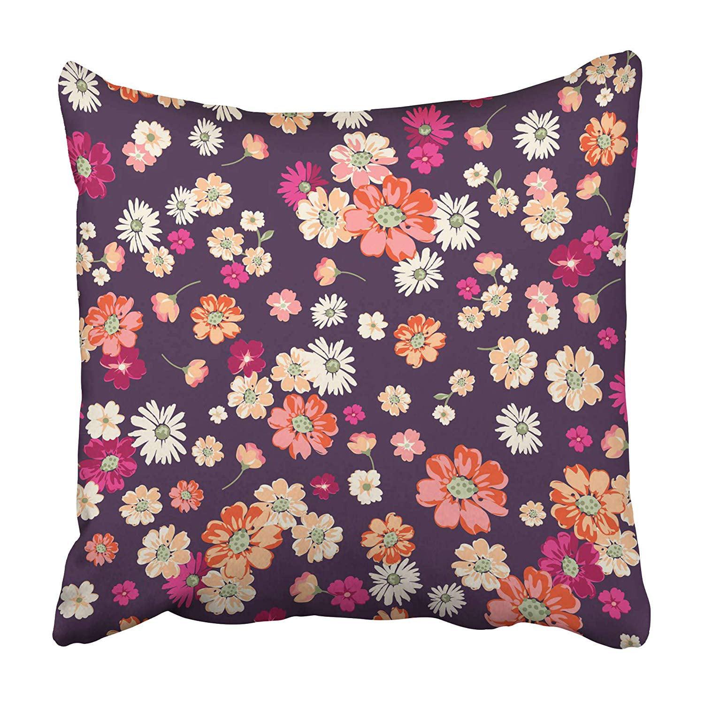 CMFUN Pink Daisy Cute Ditsy Floral on Deep Purple Orange Flower Liberty Small Little Poppy Pillowcase 16x16 inch