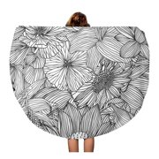 NUDECOR 60 inch Round Beach Towel Blanket Floral Linear Pattern Assorted Flowers Black Leaf White Drawing Travel Circle Circular Towels Mat Tapestry Beach Throw