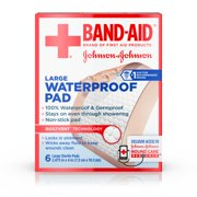 Band Aid Brand First Aid Waterproof Pads, 2.9 in by 4 in, 6 ct