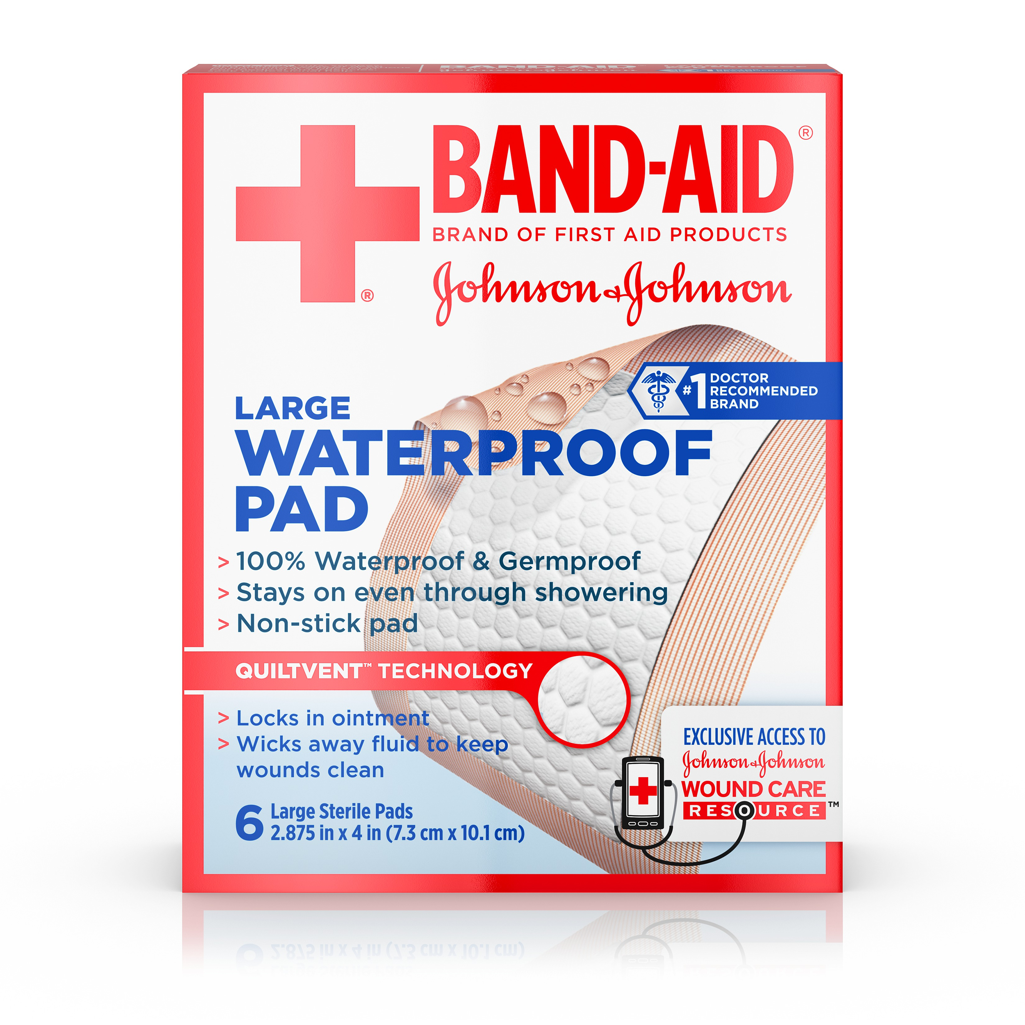 Band-Aid Brand of First Aid Products Waterproof Pads, for Minor Cut and Scrapes, 2.9 by 4 Inches, 6 Count