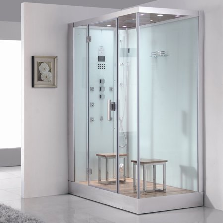 Ariel Bath Platinum 59'' x 35.4'' x 89.2'' Pivot Door Steam Shower with Right Side