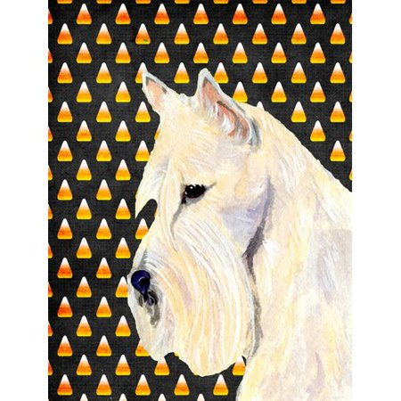 Caroline's Treasures Scottish Terrier Wheaten Candy Corn Halloween Portrait 2-Sided Garden Flag