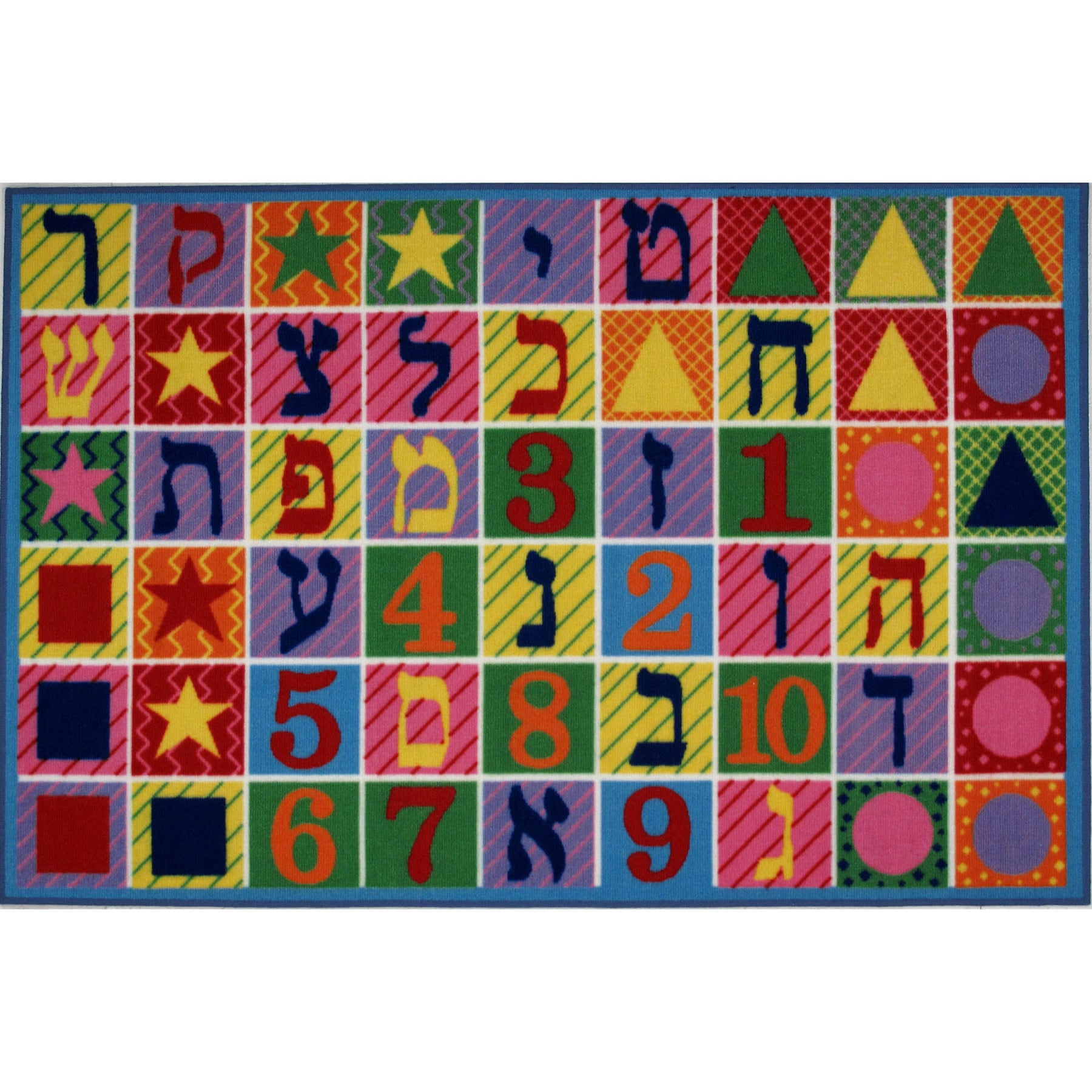 LA Rug Hebrew Numbers and Letters Multi-colored Accent Rug (4'3 x 6'5)