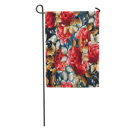 POGLIP Blue Roses Floral Red Flowers Leaves and Ornaments Flowery Flourish Garden Flag Decorative Flag House Banner 12x18 inch - image 2 of 2