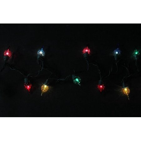 Set of 35 Multi-Color Facted Flame Tip Glass Bulb C5 Mini Christmas Lights - Green Wire - image 2 de 2