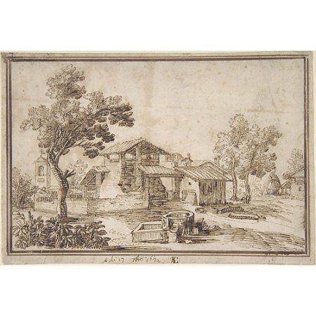 Landscape With A Farm House And A Bell Tower Poster Print By Remigio Cantagallina  Italian Borgo Sansepolcro Ca 1582   1656 Florence   18 X 24