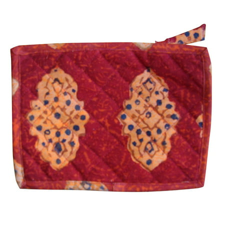 Cotton Clutch (Block Printed Cotton Quilted Kensington Clutch Bag 9 x 7)