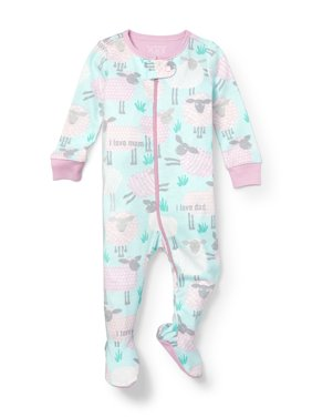 Long Sleeve Sheep Print Snug-Fit Footed Stretchie (Baby Girls & Toddler Girls)