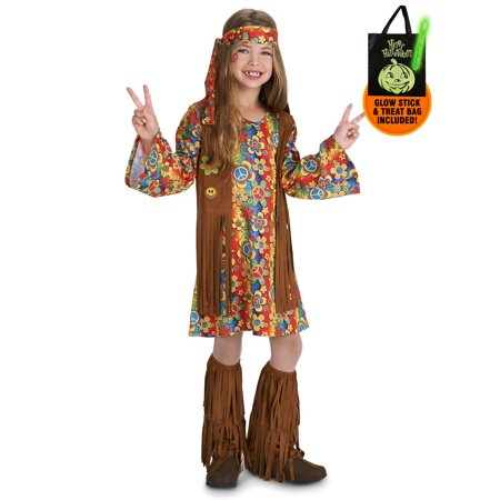 Fringe 60's Hippie Child Costume Treat Safety Kit - Childs Hippie Costume