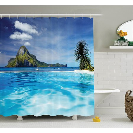 House decor shower curtain set by landscape with Swimming pool shower curtain