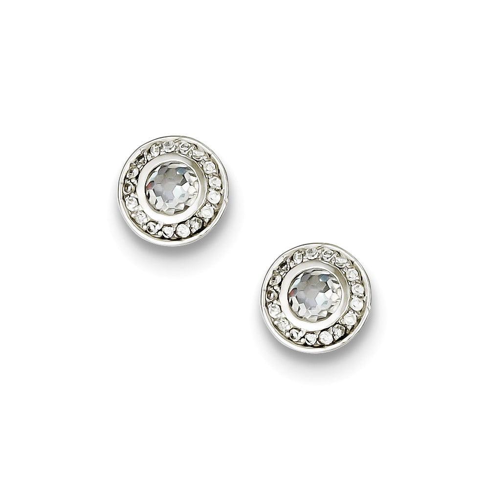 Sterling Silver Polished Open back Cubic Zirconia Post Earrings