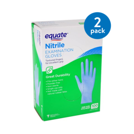 (2 Pack) Equate Nitrile Examination Gloves, One Size, 100 Ct