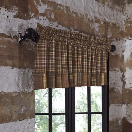 Russet Brown Rustic & Lodge Kitchen Curtains Plainfield Rod Pocket Cotton Patchwork Plaid Valance