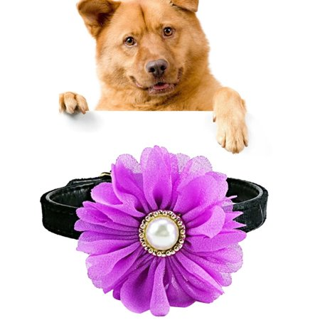 Pet Cat Dog Pearl Flower Decoration Plush Adjustable Collar, Size:1.0*30.0cm