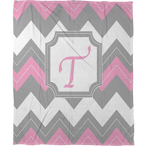 "Thumbprintz Chevron Monogram Pink T Coral Fleece Throw, 30"" x 40"""
