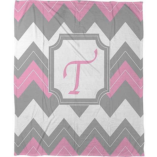 """Thumbprintz Chevron Monogram Pink T Coral Fleece Throw, 30"""" x 40"""""""
