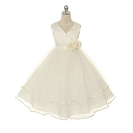 White Chiffon Flower Girl Dresses (Efavormart V-neck Satin Bodice and Tulle Layered Skirt Girls Dress Birthday Girl Dress Junior Flower Girl Wedding Party Girls)