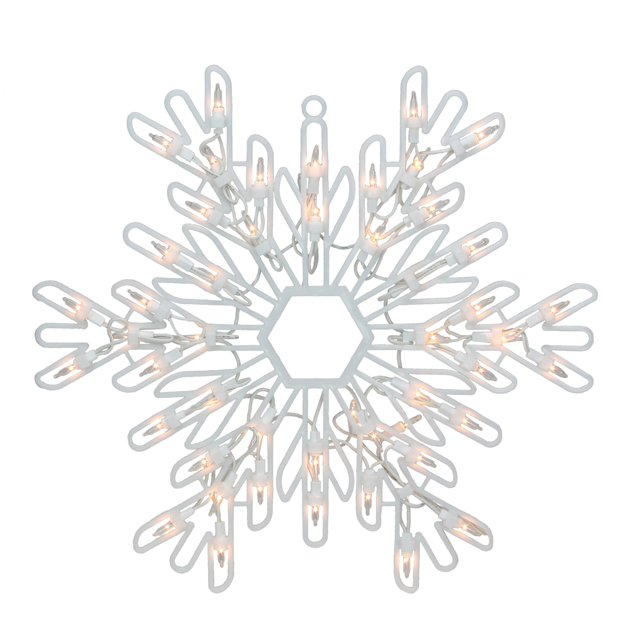 """15"""" Clear Lighted Snowflake Christmas Window Silhouette Decoration"""