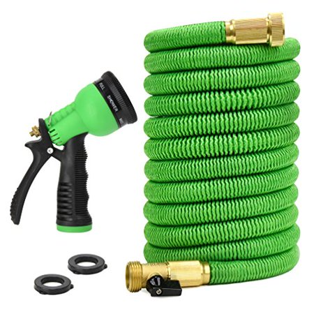 Glayko Tm 25 Feet Expandable Garden Hose - NEW 2019 Super Strong Construction- Strong Webbing -Solid Brass End + 8 Function Spray Nozzle and Shut-off Valve,