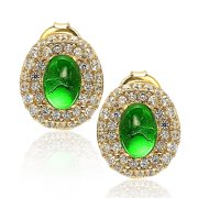 Suzy Levian  Gold Sterling Silver Gemstone Pave Stud Earrings