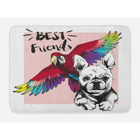Modern Bath Mat, French Bulldog and Tropical Parrot Figure with Best Friends Phrase Portrait Design, Non-Slip Plush Mat Bathroom Kitchen Laundry Room Decor, 29.5 X 17.5 Inches, Multicolor, (Best Mft Portrait Lens)