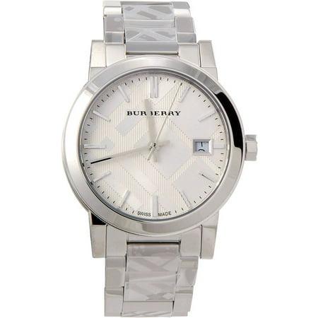 Ladies College Logo Quartz Watches - Burberry Silver Dial Stainless Steel Quartz Ladies Watch BU9144