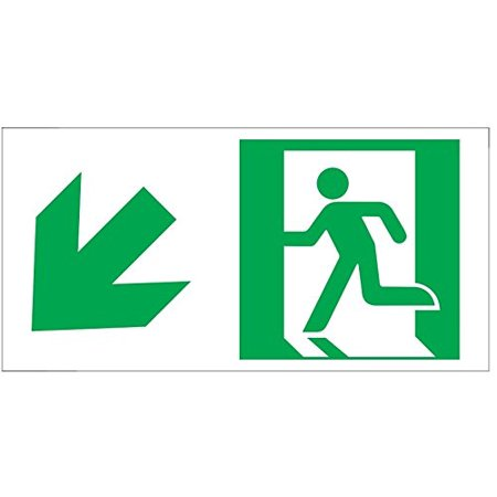RUNNING MAN DOWN LEFT ARROW EXIT SIGN -Glow-In-The-Dark High Intensity-Adhesive Sign (Photoluminescent ,High Intensity, Adhesive Sign 4.5X9 (Glow In The Dark Fire Exit Signs)
