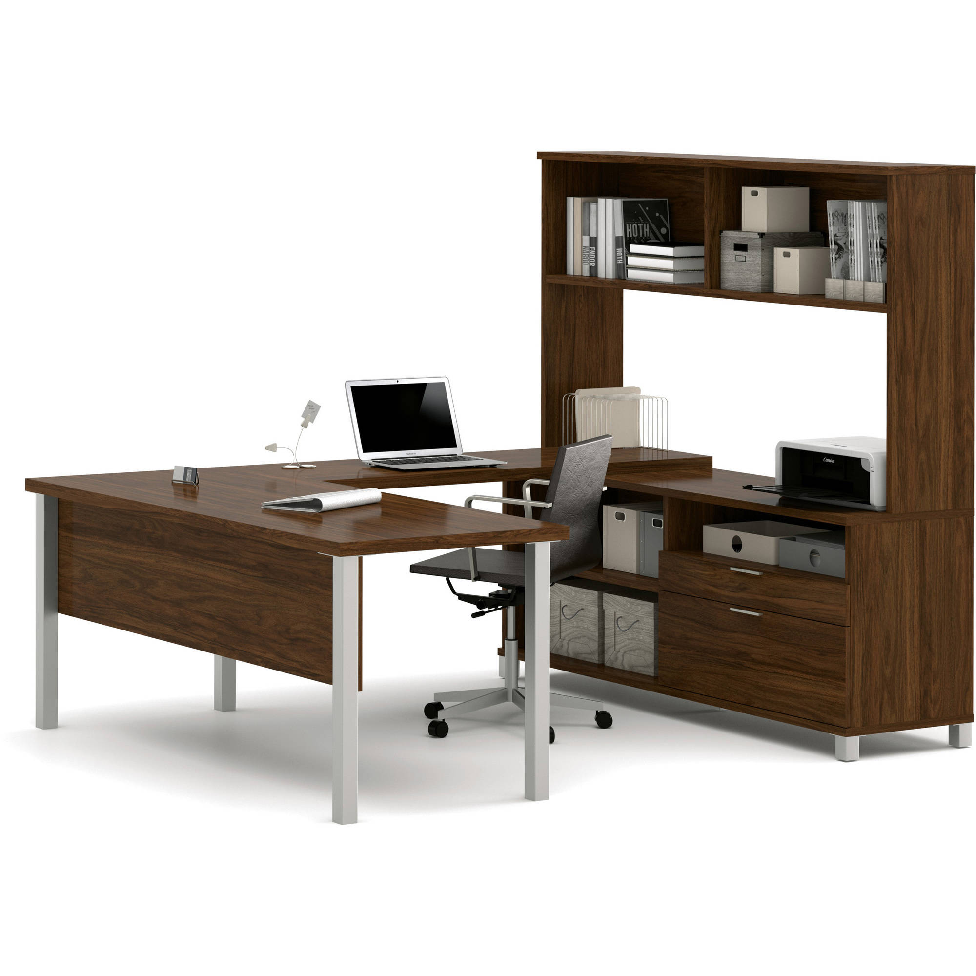 Bestar Pro-Linea U-Desk with Hutch, Oak Barrel