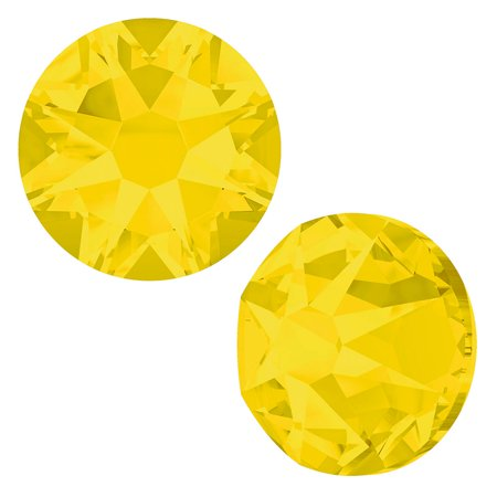 Swarovski Crystal, Round Flatback Rhinestone SS12 3mm, 50 Pieces, Yellow