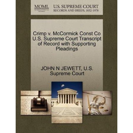 Crimp V  Mccormick Const Co U S  Supreme Court Transcript Of Record With Supporting Pleadings