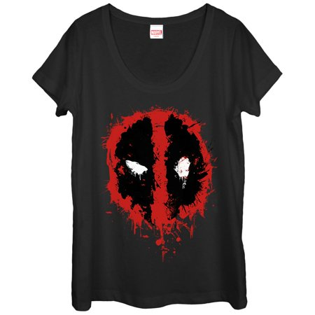 Marvel Deadpool Splatter Icon Womens Graphic Scoop Neck](Marvel Villains Women)