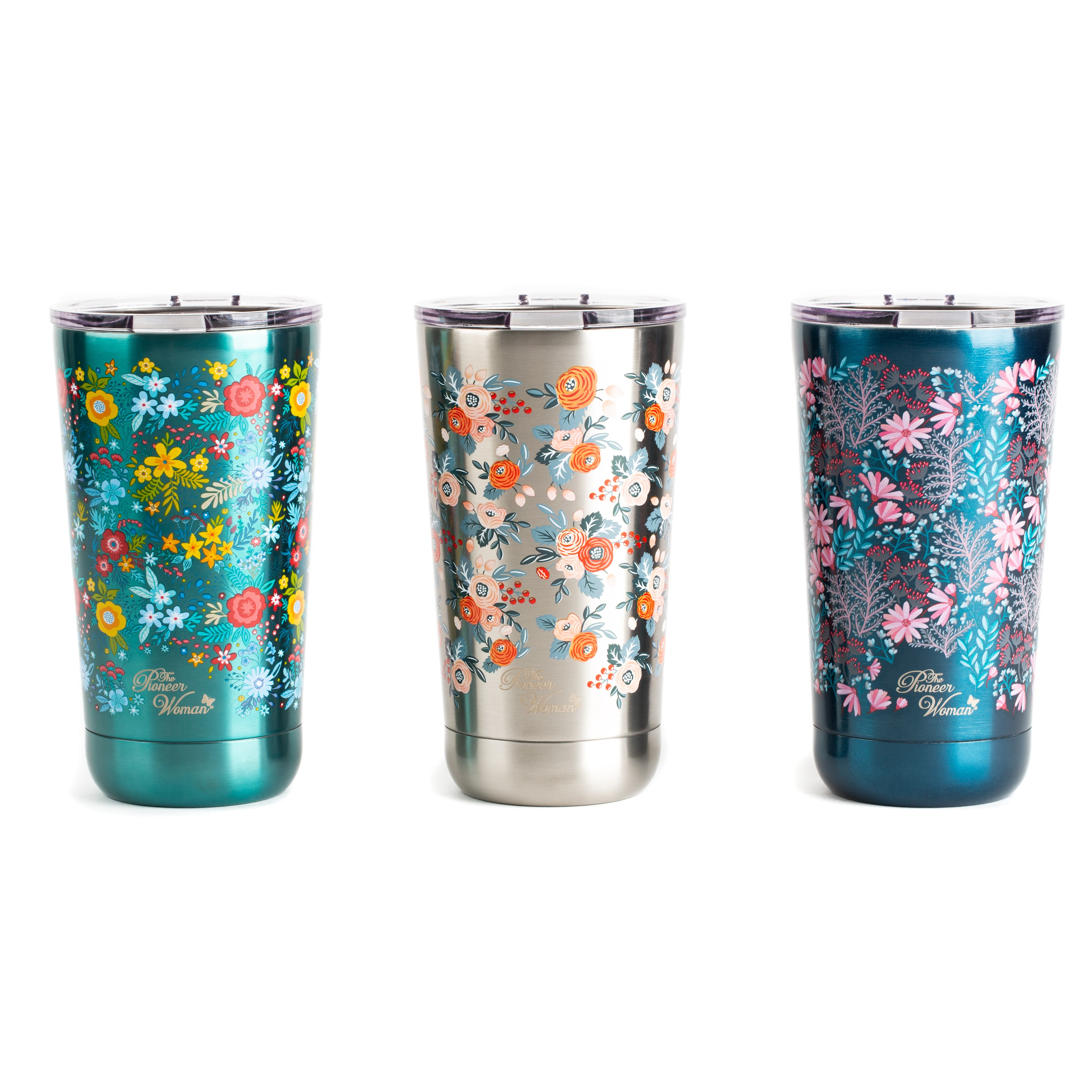 The Pioneer Woman® 18oz Stainless Steel Floral Tumblers - Set of 3 (Silver, Navy and Teal)