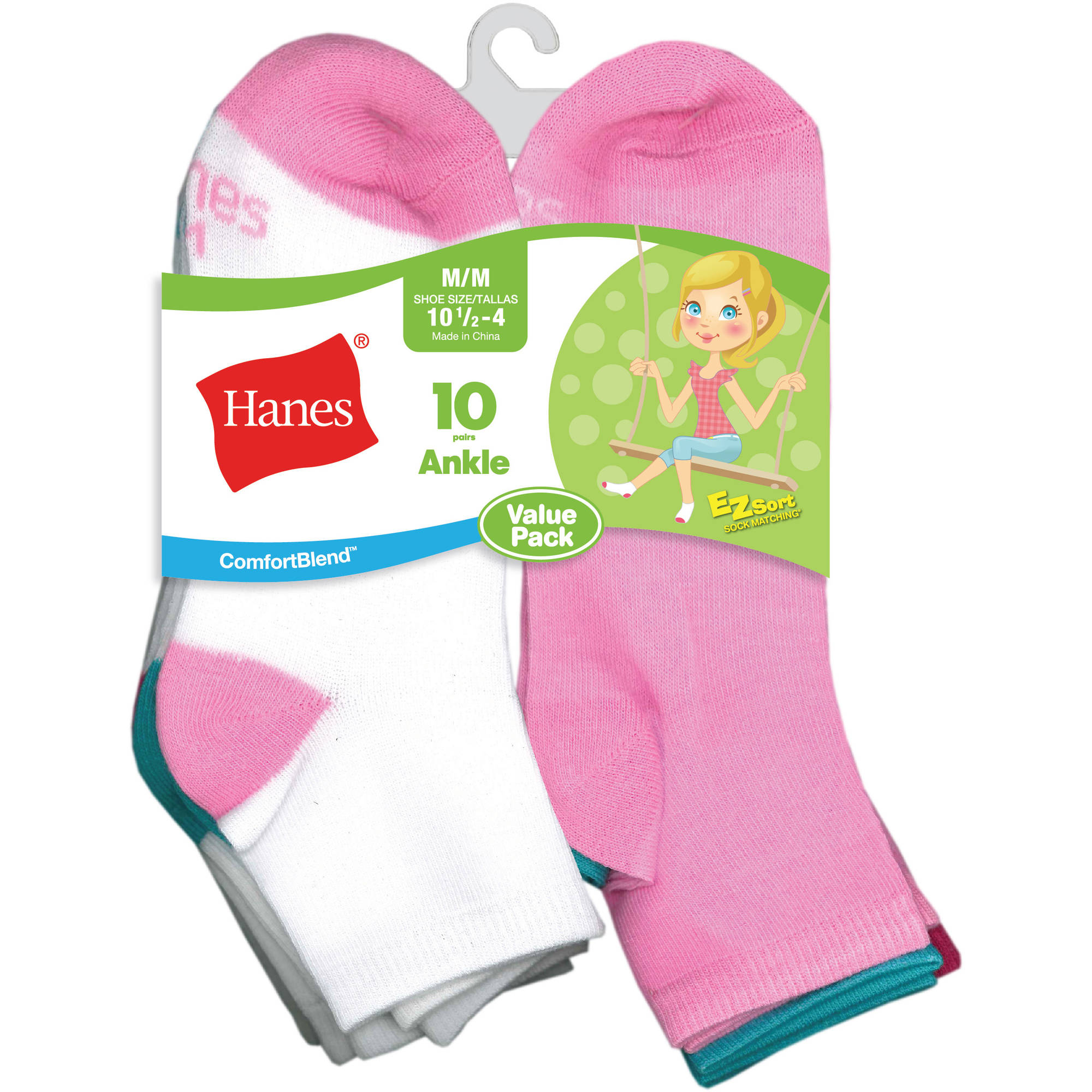 Hanes Girls Ankle Socks - 10 Pack