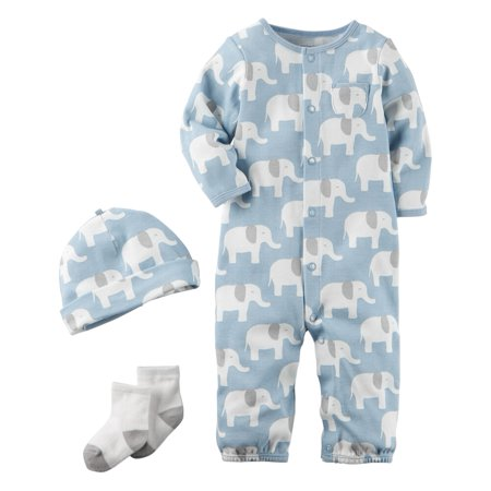 d22b61ae54f3 Carters - Carters Baby Boys 3-Piece Babysoft Take-Me-Home Set Elephant Blue  - Walmart.com