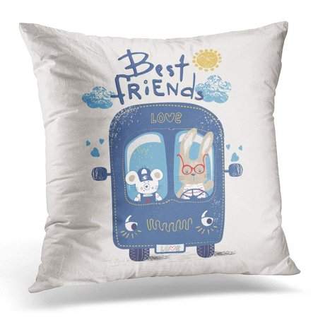 CMFUN Adventure Blue Bus with Best Friends Mouse and Rabbit Kid's Baby's Design Graphic Tee Car Pillow Case Pillow Cover 18x18 inch ()