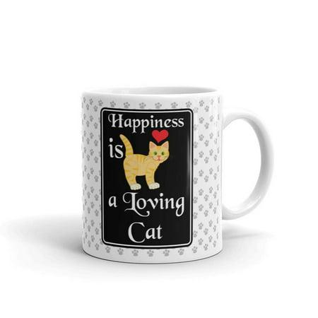 Happiness is Loving Cat Coffee Tea Ceramic Mug Office Work Cup Gift 11oz