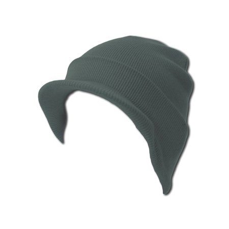 Knit Cuff Beanie Visor - Winter Wear/Sports - Heather Grey