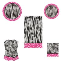Pink Polka Dot Zebra Print Party Decorations including plates, napkins and tablecloth, These 5 piece bundle of trendy pink polka dot zebra print.., By Party Essentials Ship from US