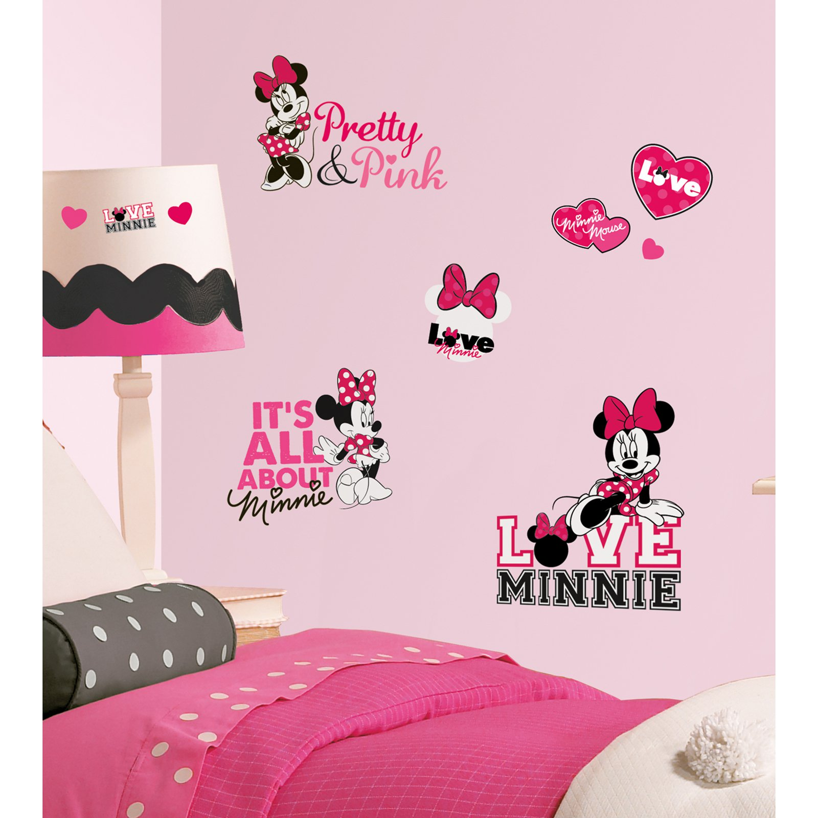 Black Wall Decals roommates mickey & friends - minnie mouse peel & stick giant wall