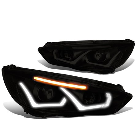 - For 2015 to 2017 Ford Focus Dual HALO LED DRL Light Bar+Turn Signal Projector Headlight Black Housing Smoked Lens Clear Corner Headlamp 16