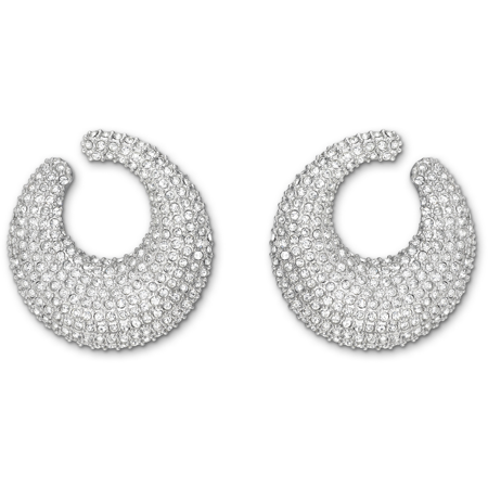 Clear Crystal Pierced Earrings STONE Pave Circle Rhodium #5017145