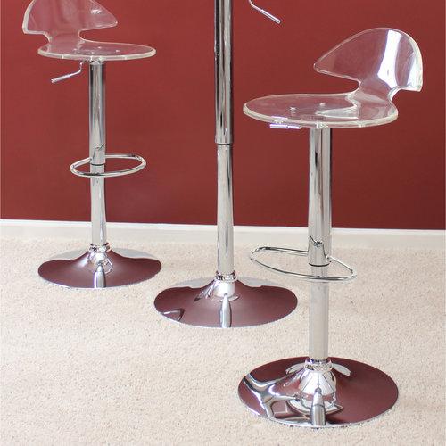 LumiSource Venti Clear Adjustable Height Swivel Bar Stool