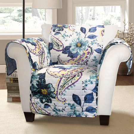 Floral Paisley Furniture Protectors, Blue