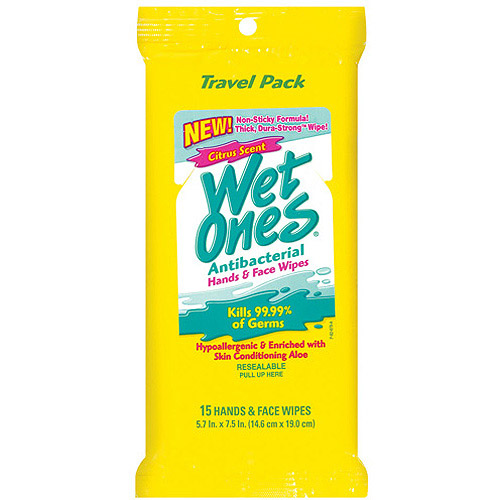 Wet Ones Citrus Scent Antibacterial Hand & Face Wipes, 15 count