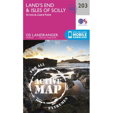 Landranger Active  203  Lands End   Isles Of Scilly  St Ives   Lizard Point  Os Landranger Active Map   Map