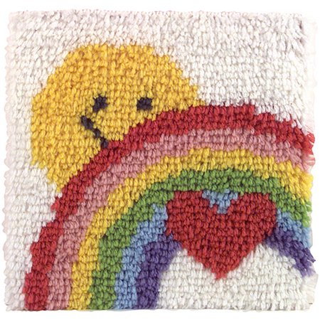 Caron Rug Kits - Caron Natura Latch-Hook Kit, Sunshine Rainbow, 12 X 12