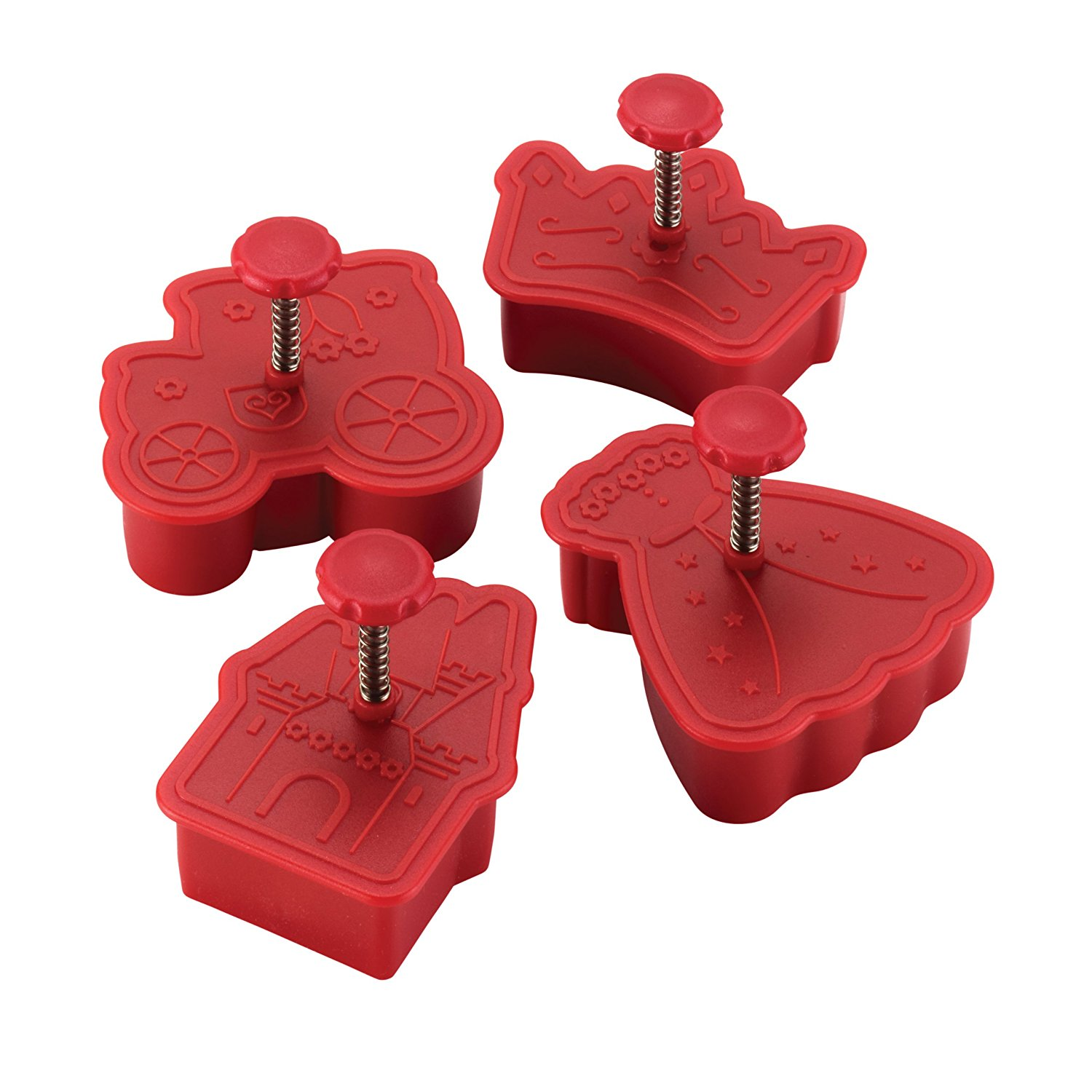 Cake Boss Decorating Tools 4-Piece Princess Fondant Press Set, Red