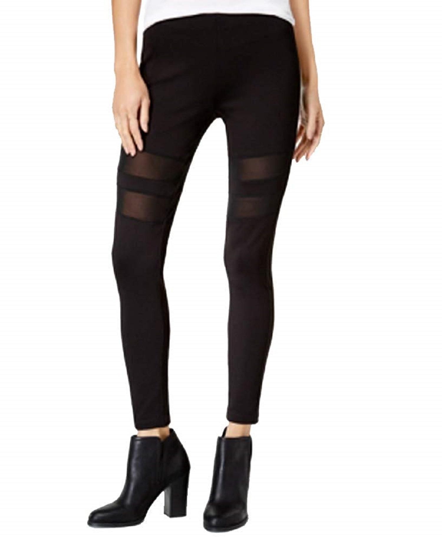 Celebrity Pink Juniors' Sheer-Inset Leggings (Black, X-Small)