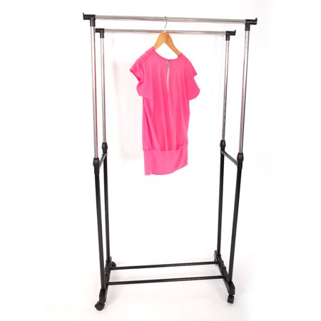 Zimtown Rolling Portable Adjustable Clothes Rack Double Bar Rail Hanging Garment Hanger