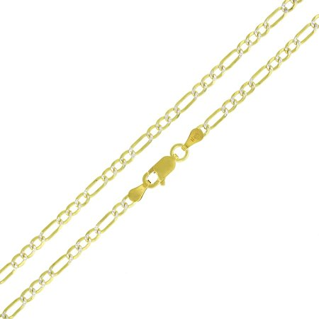 Sterling Silver Italian 3mm Figaro Link Diamond Cut Two-Tone Yellow ITProLux Solid 925 Necklace Chain 16